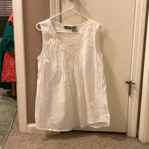 Sleeveless white-eyelet cotton blouse